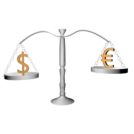 Balance with dollar and euro symbols, 3d render Stock Photo