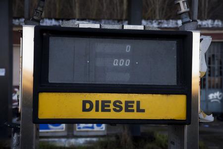 diesel: Old diesel station, close up, horizontal hdr image Stock Photo