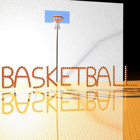 basketballs: Basketball word written with basketballs, 3d render