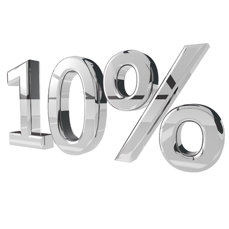 10% in silver metal, isolated over white, 3d render photo