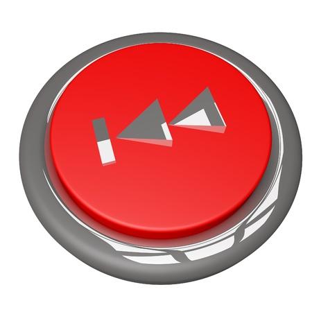 rewind: Rewind button isolated over white, 3d render