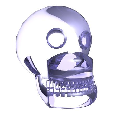 Crystal skull over white background, 3d render photo