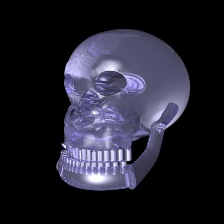 Crystal skull over black background, 3d render photo