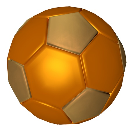 Golden soccer ball, isolated over white, 3d render photo
