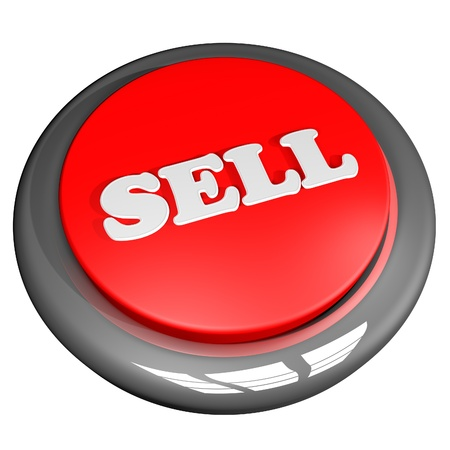 Sell button, isolated over white, 3d render