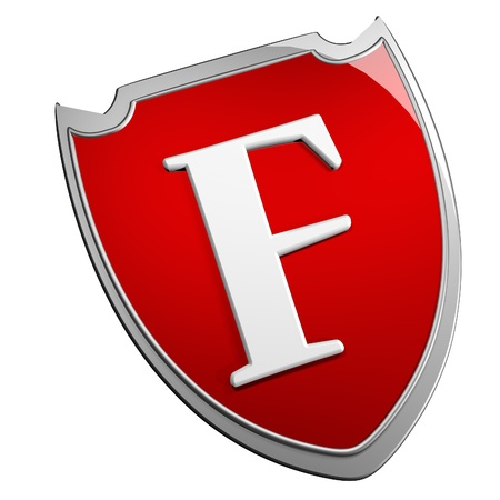 F Shield over white background, 3d render photo