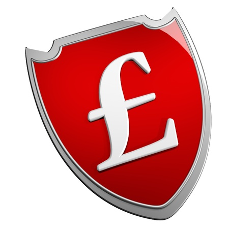 british pound: British pound symbol over shield, isolated over white, 3d render