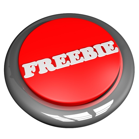 freebie: Freebie button, isolated over white, 3d render