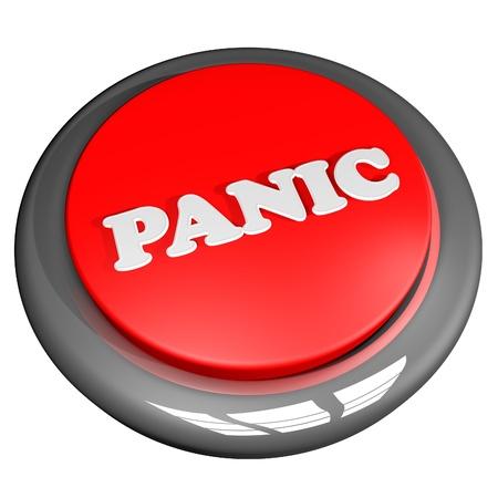 panic button: Panic Button, isolato su bianco, rendering 3d Archivio Fotografico