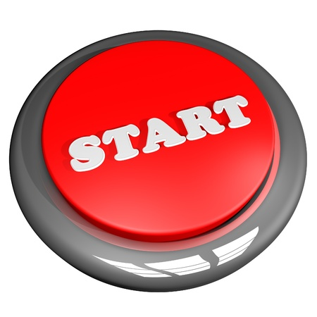 start button: Start button isolated over white, 3d render