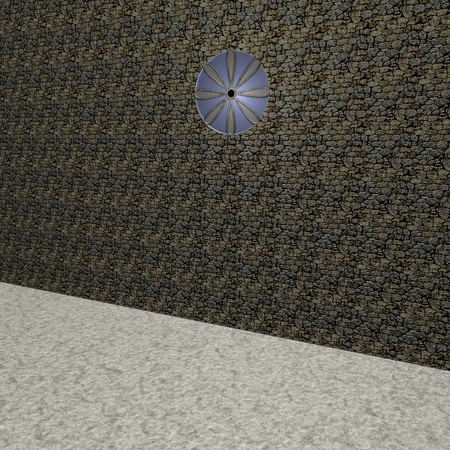 church 3d: Church with light coming from rose window, 3d render