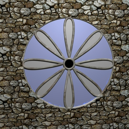 church 3d: Rose window of a church, 3d render