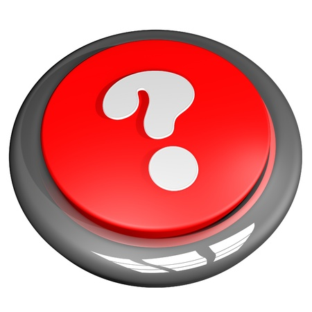 interrogative: Interrogative point button, isolated over white, 3d render Stock Photo