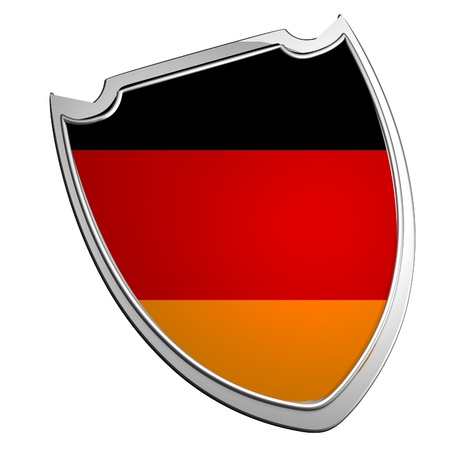 Germany flag over shield, isolated over white, 3d render photo