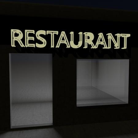 square image: Light restaurant signboard, square image, 3d render
