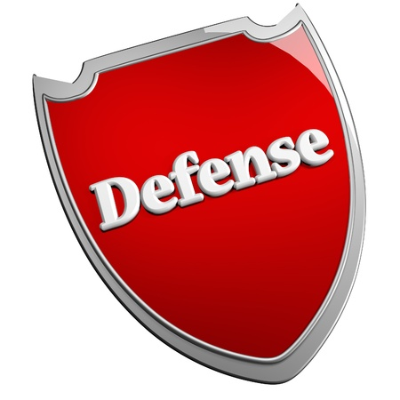 Red Defense shield, isolated over white, 3d render Stock Photo