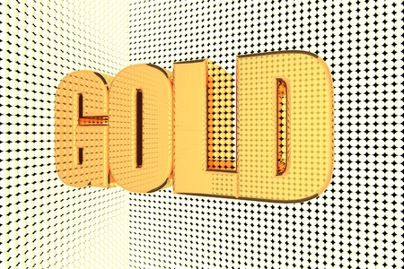 quick money: Gold word in gold and illuminated, 3d render