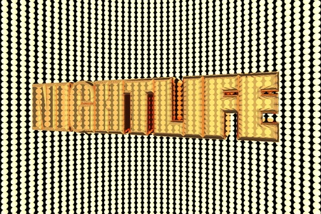 nightlife: Nightlife word in gold and illuminated, 3d render