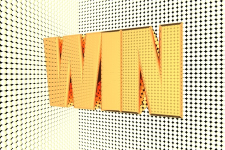 quick money: Win word in gold and illuminated, 3d render