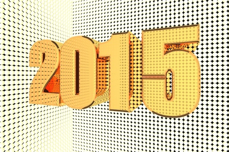 quick money: 2015 word in gold and illuminated, 3d render