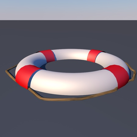 preserver: Life preserver floating in water, 3d render