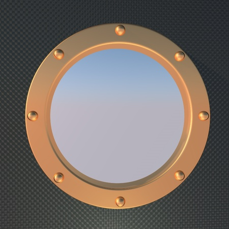 square image: Porthole over blue sky, square image, 3d render