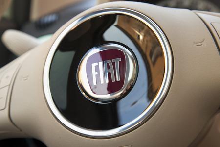 Casale Monferrato March 10 2015 Fiat Symbol Over Steering Stock