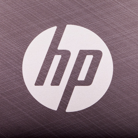 CASALE MONFERRATO, MARCH 14: Hewlett Packard symbol over a gray pc. Hewlett Packard is one of the leading brand in hi-tech world. Editorial