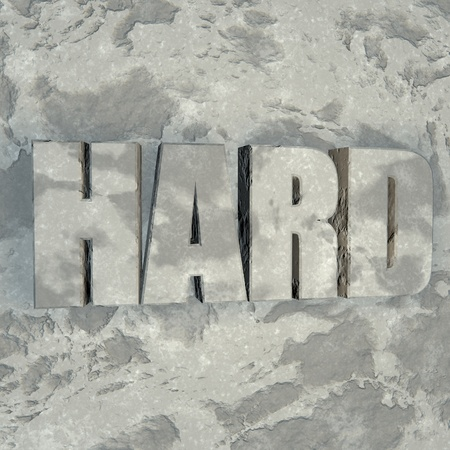 sculpted: Hard word sculpted in stone, 3d render