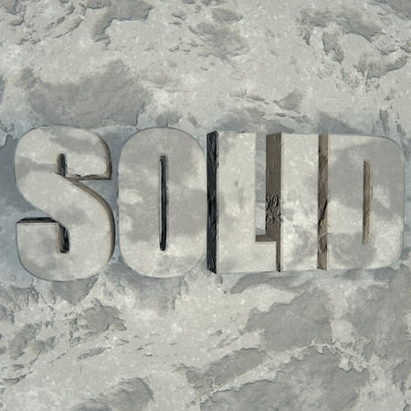 sculpted: Solid word sculpted in stone, 3d render
