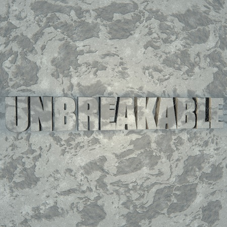 sculpted: Unbreakable word sculpted in stone, 3d render