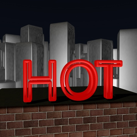 lighted: Hot red lighted word over rooftops with city skyline on the background, night sky, horizontal image, 3d render