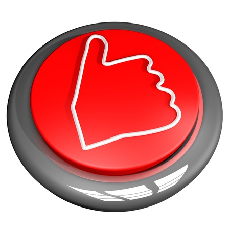 cool down: Thumbs up button, isolated over white, 3d render