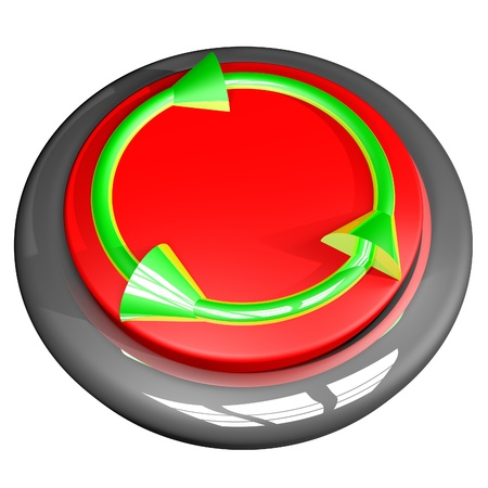 square image: Recycling green symbol over red and metal button, square image, isolated over white, 3d render Stock Photo