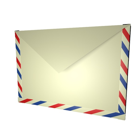 square image: Closed envelope, isolated over white, 3d render, square image