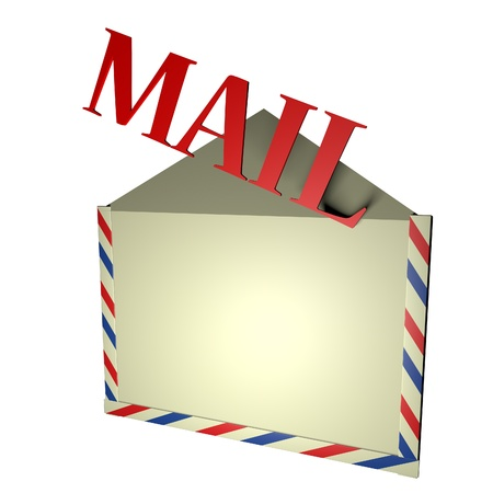 square image: Mail word coming out of envelope, isolated over white, 3d render, square image