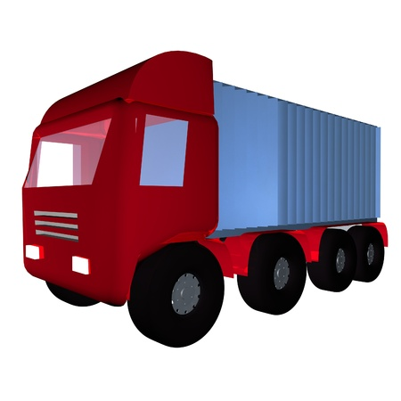 square image: Red truck isolated over white background, square image, 3d render