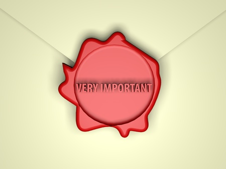 wax stamp: Very important words over red wax stamp, 3d render