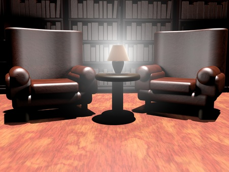 armchairs: Lobby with two leather armchairs, table and light, 3d render, horizontal image