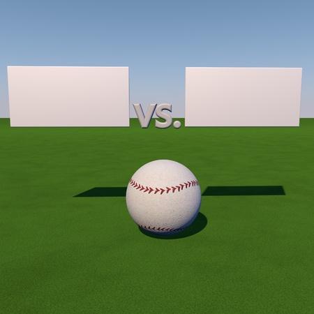 score under: Baseball over grass field under tables for score, 3d render