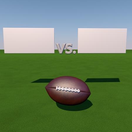 score under: Football over grass field under tables for score, 3d render
