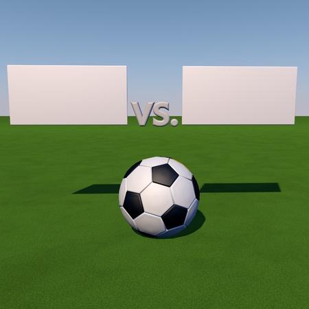 score under: Soccer ball over grass field under tables for score, 3d render