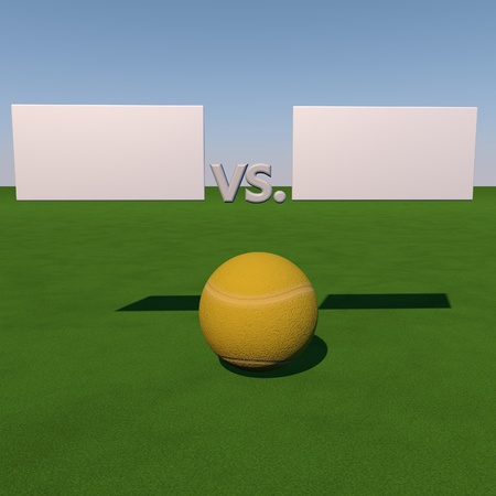 score under: Tennis ball over grass field under tables for score, 3d render Stock Photo
