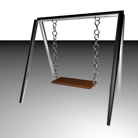 swing set: Swing set with wooden seat, 3d render