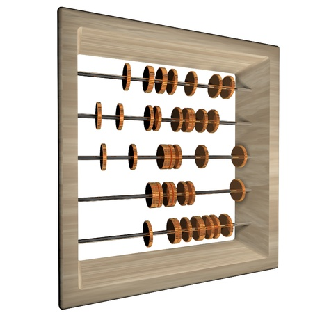square image: Abacus with coins, isolated over white, 3d render, square image
