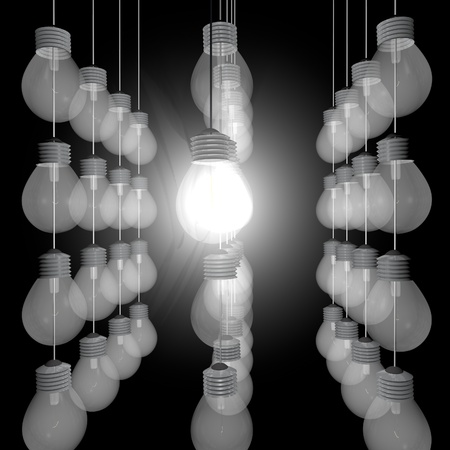 Many bulbs in row, only one lighted, 3d render photo