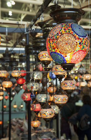 Multicolor Turkish lamps in rows, vertical image photo