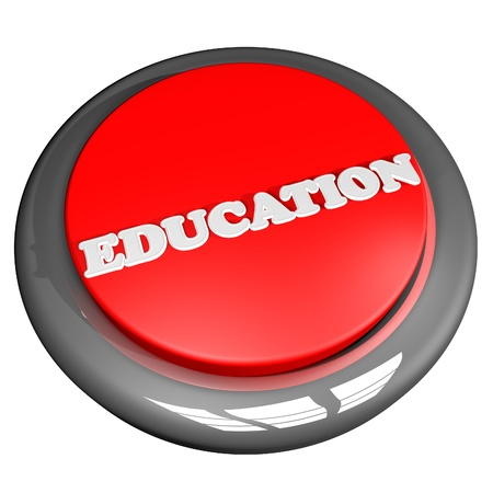 square image: Education button, isolated over white, 3d render, square image Stock Photo
