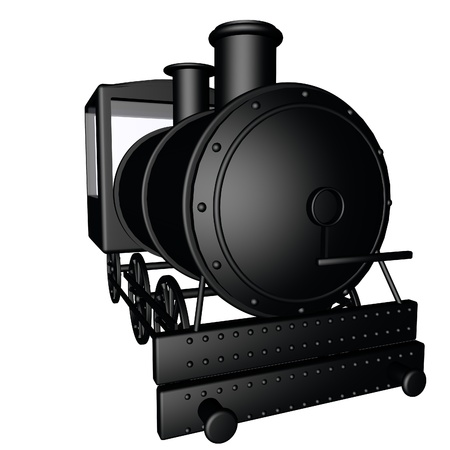 steam locomotive: Black steam locomotive isolated over white, 3d render, square image