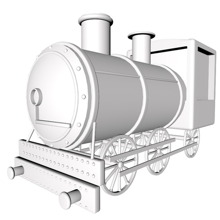 the locomotive isolated: White steam locomotive isolated over white, 3d render, square image